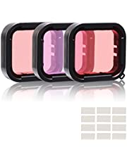 3 in 1 Snorkel Diving Underwater Red/Pink/Purple Lens Filters & Anti-Fog Inserts Compatible with Super Suit Waterproof Housing of GoPro Hero (2018), GoPro Hero 7 Black, Hero 6, Hero 6 Black, Hero 5, Hero 5