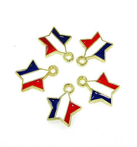 Linpeng LP122817-02 Star Charm, Red White Blue, 5 Piece