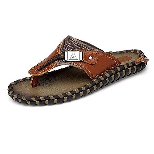 de con Hecho Ocasionales Playa Trabajo los de Marrón Cuero Zapatillas de Chanclas Hombres a Antideslizante Genuino Sandalias Suela Mano Zapatos Y7wggax