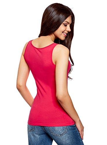 oodji Collection Mujer Camiseta de Tirantes Básica sin Etiqueta (Pack de 2) Rosa (4D00N)