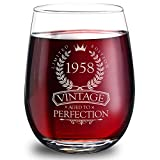 1958 60th Birthday Gifts for Women and Men - Elegant 15oz Stemless Wine Glass. The Perfect 60th Wedding Anniversary Gifts for Dad, Mom, Husband and Wife. Best 60th Birthday Decorations for Him and Her