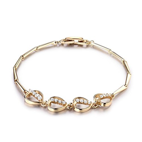 preeyanan Brilliant White Topaz Crystal Women Eternity Wedding Heart Gold Chain Bracelets