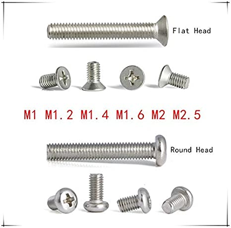 Size : M1.6x4 ling Vis en Acier Inoxydable Phillips M1 // M1.2 // M1.4 // M1.6 // M2 // M2.5 * 3//4//5//6//8//10 mm Cross /à t/ête Plate Filetage /à vis m/écanique m/étrique Boulon 50pcs