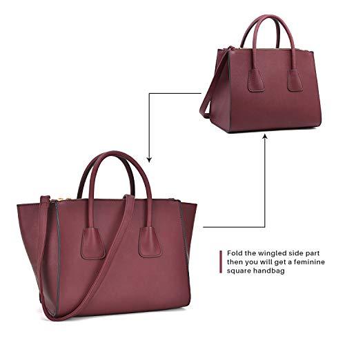 Dasein Women Winged Handbags Designer Shoulder Bag Structured Tote Satchel Purses by Dasein (Image #2)