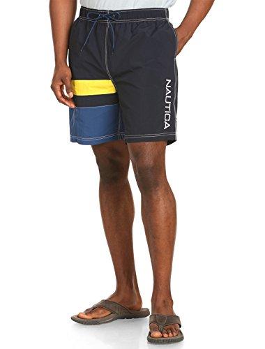 Nautica Big & Tall Colorblock Swim Trunks (3XL, Navy)