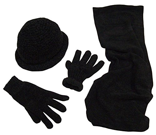 N'Ice Caps Womens Crocheted Chenille 3PC Set With Fleece Lining (One size fits all Womens, Black)