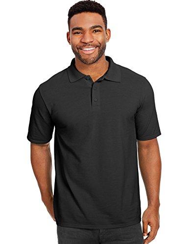 (Hanes X-Temp Men's Pique Polo Shirt_Black_L)