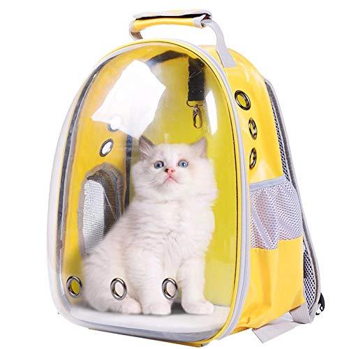QKEMM Hundebox Transportbox aus Tragbaren Transparenten Reisen für Auto Hundetransportbox Katzenbox Gelb