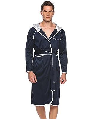 Hindom Men Robes Casual Hooded Long Sleeve Patchwork Pocket Spa Kimono Bathrobe Sleepwear With Belt