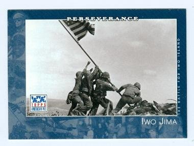 American Pie Card (Iwo Jima trading card (WWII US Marines raise flag on Mt Suribachi) 2001 Topps American Pie #69)
