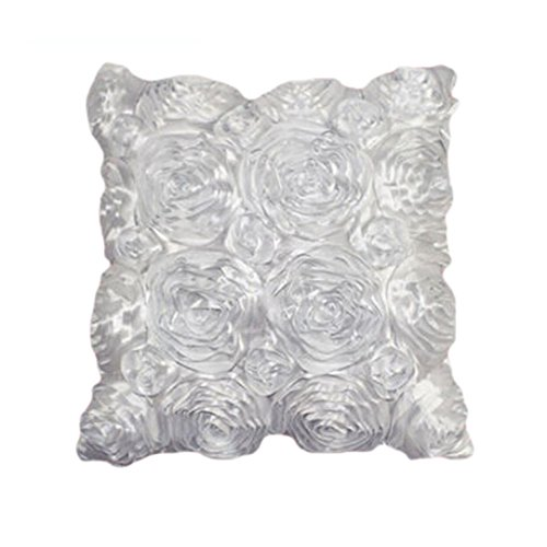 Clearance!Woaills Fashion Floral Decorative Satin Pillow Cover Throw Cushion Case (White)