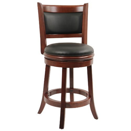 Boraam 49824 Augusta Counter Height Swivel Stool, 24-Inch, Cherry - 24 Black Cherry Counter