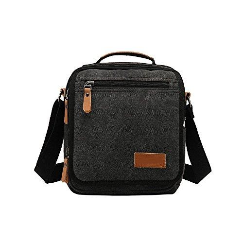 VRIKOO Small Canvas Crossbody Messenger Bag Shoulder Satchel Bag for Work Travel Hiking School (Khaki) Negro