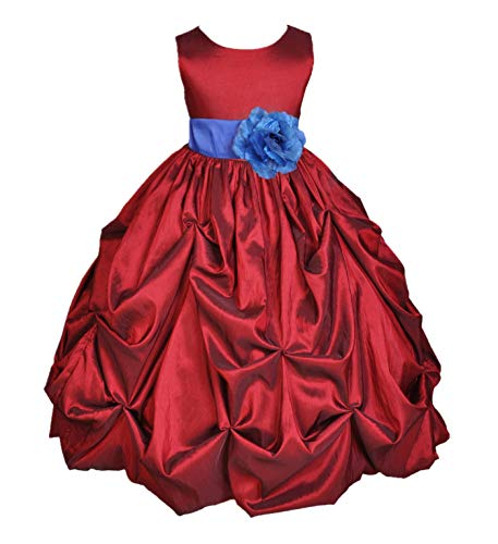 ekidsbridal Pick-Up Bubble Taffeta Apple Red Flower Girl Dress Wedding Pageant Gown Holiday Dress 301S 10