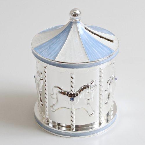 Dochsa Silver Plated Carousel Money Box Blue