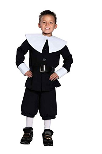 Underwraps GTH Boy's Pilgrim Kids Child Fancy Dress Party Halloween Costume, M (6-8) ()