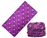 LEFV&Trade; 16-in-1 Headband Floral and Butterfly Design Versatile Magic Scarf Bandana Tube Headwear Seamless Neck Gaiter Balaclava Face Mask for Outdoor Sports Activity Purple