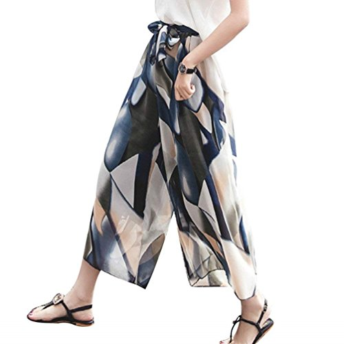 3b528207a Mujer Palazzo Falda Con Alta Fashion Flores Pantalon Patrón Ropa ...