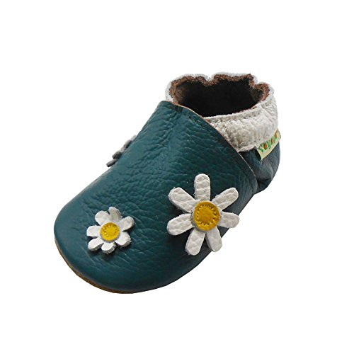 Sayoyo Baby Daisy Soft Sole Leather Infant Toddler Prewalker Shoes (12-18 months, Green)