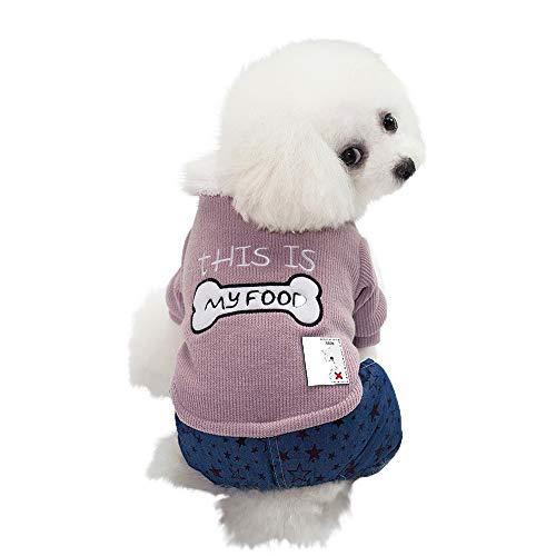 AKwell Winter Autumn Dog Pet Clothes Small Puppy Warm Jacket Apparel Coats Bone Print Four-Legged Cotton Coat