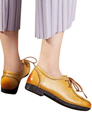 Scarpe In Pelle Da Donna Zoulee Allacciate Scarpe Basse Giallo Madreperla