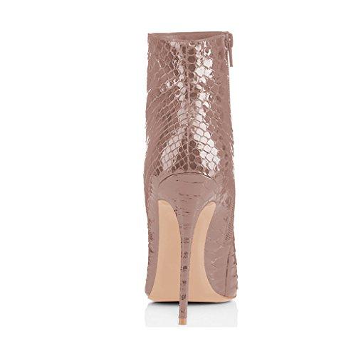 Botines De Punta Estrecha Fsj Mujeres Botines Brillantes Con Tacones De Aguja Y Estampados Florales Zapatos Talla 4-15 Serpiente Taupe De Ee. Uu.