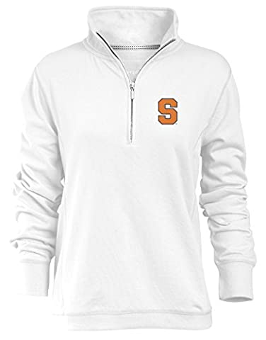 NCAA Syracuse Orange Relaxed Quarter Zip Pullover, White, Large ()