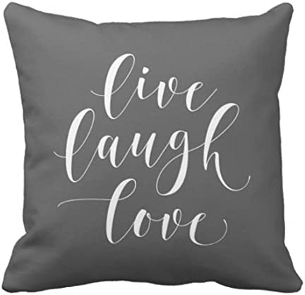 Emvency Throw Pillow Cover Her Gray Laugh Live Love Grey Decorative Pillow Case Home Decor Square 18 X 18 Inch Pillowcase Home Kitchen