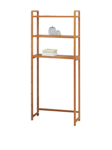 Organize It All Natural Bamboo 3 Tier Over Toilet Bathroom Storage Space Saver