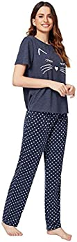 DIDK Womens Kitty Cat Print Tee and Polka Dot Pants Pajama Set