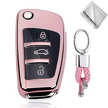 Rosado Funda para Llave Smart Key para Coche 3 Button Audi A1 A3 A4 A6 A8 TT Q7 Q5 S6 - Carcasa Protectora [Suave] de [Silicona] - Case de Mando de ...