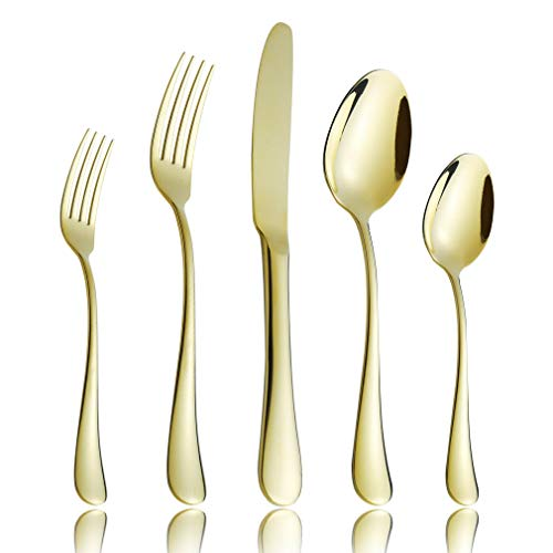 (20-Piece Flatware Silverware Set Service for 4 Stainless Steel Cutlery Include Knife Fork Spoon Dishwasher Safe (Gold))