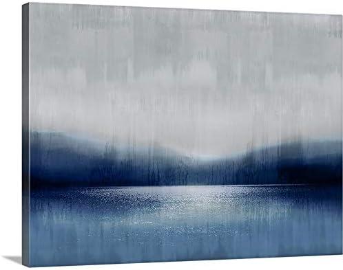 Abstract Landscape Indigo Lake 2 Canvas Wall Art Print