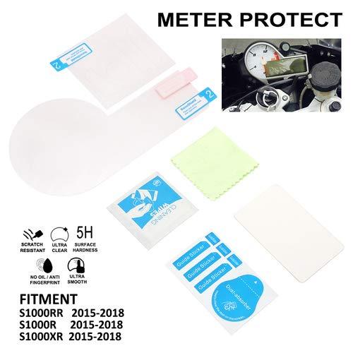 YSMOTO Pellicola Protettiva AntiGraffio per Lo Schermo del Motociclo e del tachimetro per BMW S1000R RR S1000RR XR S1000XR 2015-2018 15-18 Moto da Strada