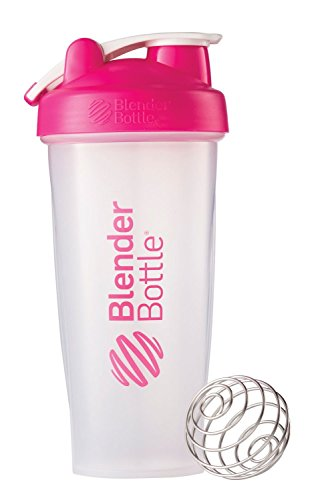 BlenderBottle Classic Loop Top Shaker Bottle, 28-Ounce, Clear/Pink