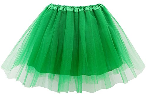 Simplicity Women's Classic Elastic 4-Layered Tulle Tutu Skirt,Green]()