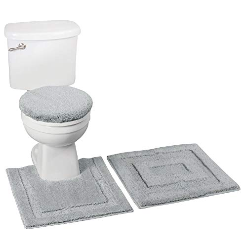 mDesign Soft Microfiber Polyester Bathroom Spa Rug Set - Water Absorbent, Machine Washable - Includes Plush Non-Slip Rectangular Accent Rug, Contour Mat, Toilet Lid Cover - Set of 3 - Gray