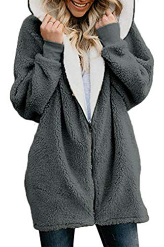 Luxueux en avec Scurocolor gris molleton Vêtements Vêtements Pochette chaude à Zinmuwa Femme capuche poches zippées tXqSwxg
