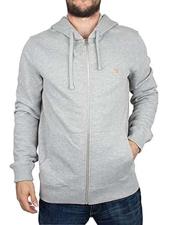 Farah Zip Up Hoodie For Men, Grey, L