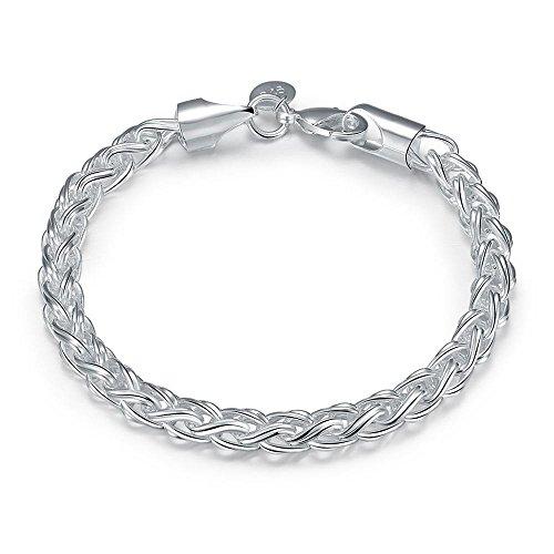 NYKKOLA 925 Solid Silver Stunning Fashion Jewelry Classic Twine Bracelet Unisex