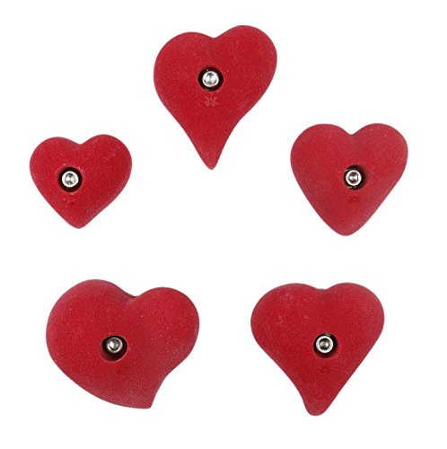 5 Pack Hearts l Climbing Holds l Red by Atomik Climbing Holds