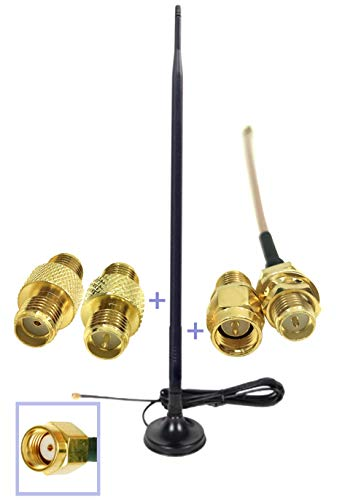 Universal Kit Dual Band Wi-Fi 9dbi Extension Long Range Omni Directional 2.4/5Ghz Antenna RP-SMA Male Connector on Magnet Base with Connectors and Extenders