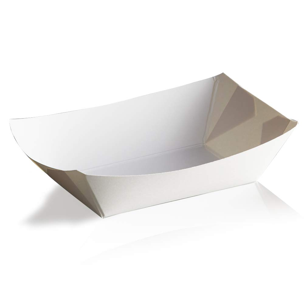 White Disposable Paper Food Trays 2Lb-Heavy Duty, Grease Resistant 100 Pack. Durable, Ideal for Festival Holds Treats Like Hot Dogs, Fries, Nachos,BBQ's, Picnics, Carnivals, Birthdays,Parties