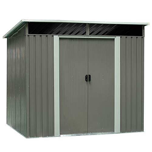 Outsunny 6.3'x7.8' Steel Outdoor Garden Storage Shed Yard Tool House