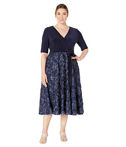 Alex Evenings Women's Plus Size Tea Length Dress with Rosette Detail, Navy Tie Front, 22W