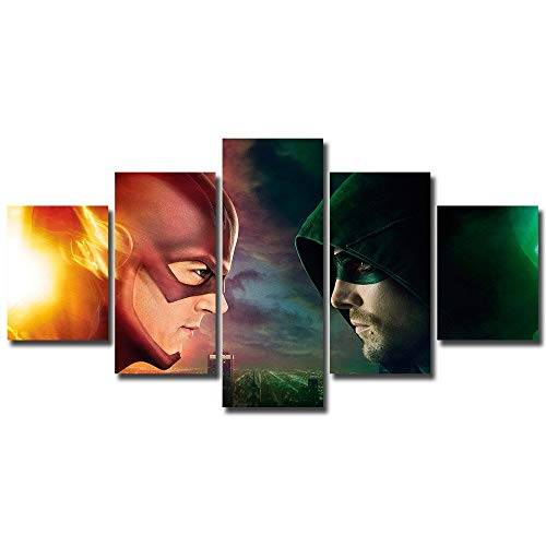 5 panels The Flash vs Green Arrow Canvas Art barry allen central city dc commics emerald archer green arrow oliver queen scarlet speedster star the flash Wall Multi Piece Print Home Decor (Flash Vs Arrow)