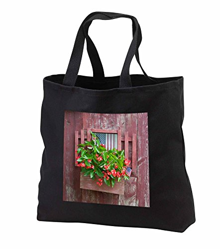 Price comparison product image Danita Delimont - Garden - Window box planter with begonias and American flags on old red shed - Tote Bags - Black Tote Bag 14w x 14h x 3d (tb_251045_1)