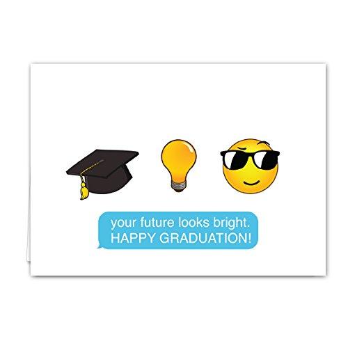 Emoji Graduation Card Pack - Set of 18 cards, blank inside with white envelopes