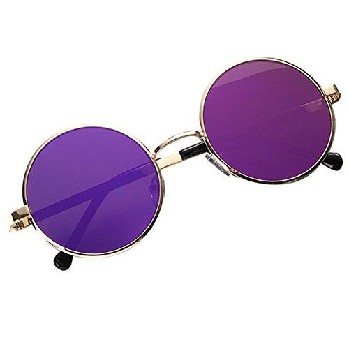 38ed4bdc03 Highdas Vintage Gafas De Sol Redondas Mujeres Hombres Marcos De Metal  Espejo Lentes Retro En venta