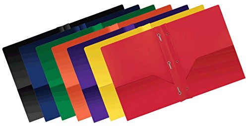 Better Office Products Poly 2 Pocket Folders with Prongs, Heavyweight, 36 pieces, assorted primary colors